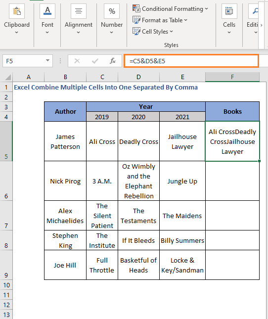 Ampersand without comma - Excel Combine Multiple Cells Into One Separated By Comma