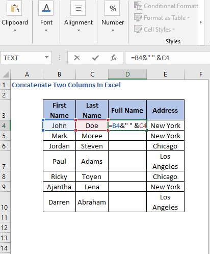 Ampersand Formula - Concatenate Two Columns In Excel