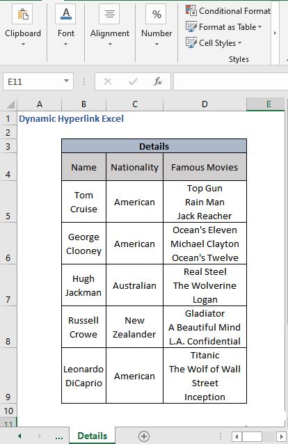 Details Sheet for Dynamic Hyperlink Excel