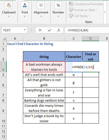 FIND function to find character in string