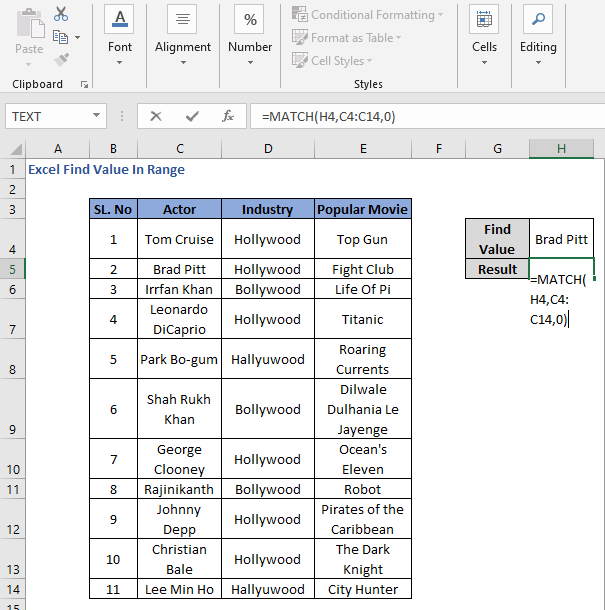 MATCH Function to find the values