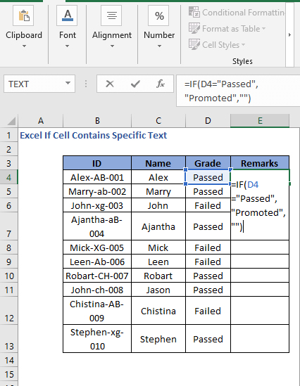 IF Formula code to check cell contains specific text