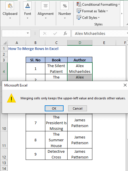 Warning - How To Merge Rows In Excel