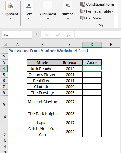 Pull Actor data from Details sheet