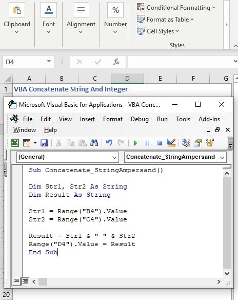 VBA code to Concatenate strings