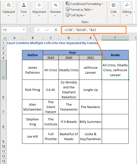 Ampersand with comma - Excel Combine Multiple Cells Into One Separated By Comma
