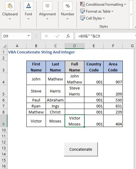 Select cell - Press button 3 - VBA Concatenate String And Integer