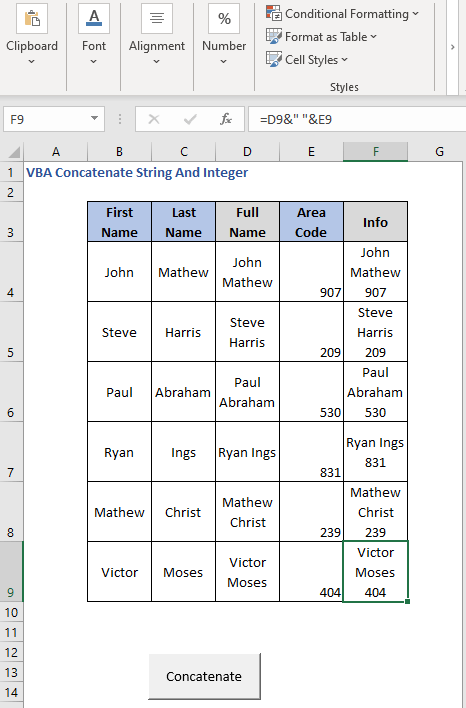 Button press for concatenating Strings & Integers
