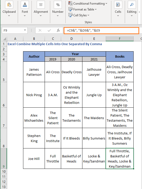 Ampersand with comma AutoFill - Excel Combine Multiple Cells Into One Separated By Comma