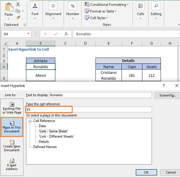 Insert Hyperlink dialog Box to set hyperlink