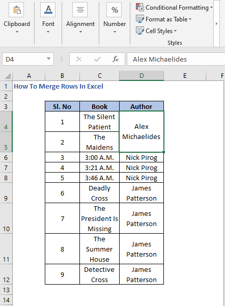 Merged Row - How To Merge Rows In Excel