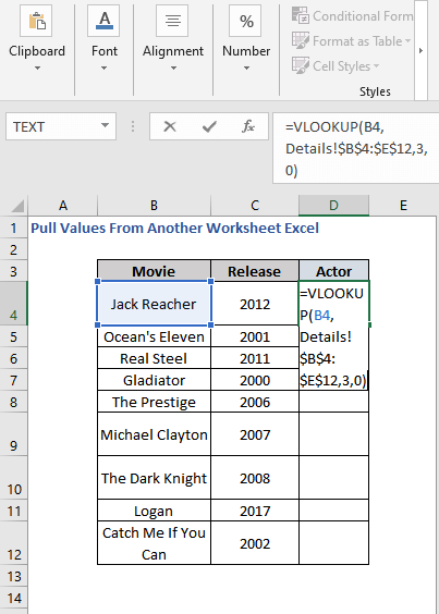 VLOOKUP Formula to Pull Values From Another Worksheet