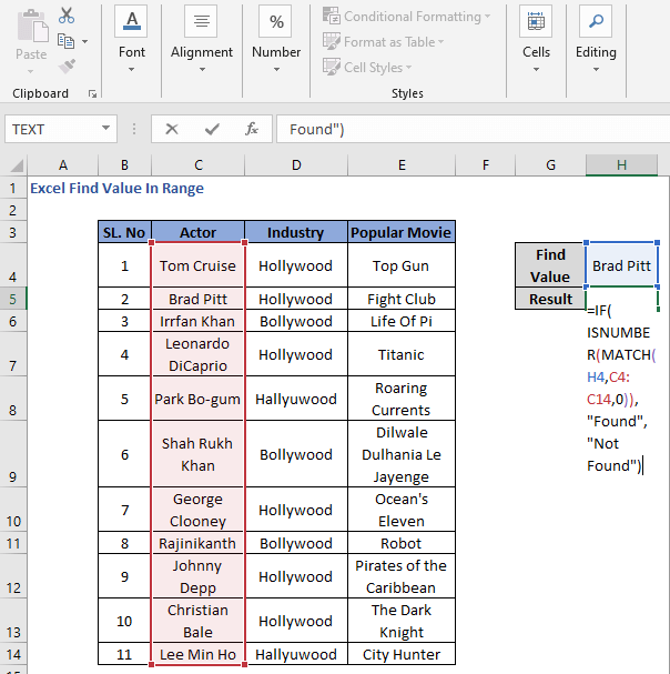 MATCH Formula with IF - ISNUMBER to find value in a range