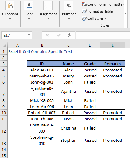 All cells result of IF Formula code to check cell contains specific text