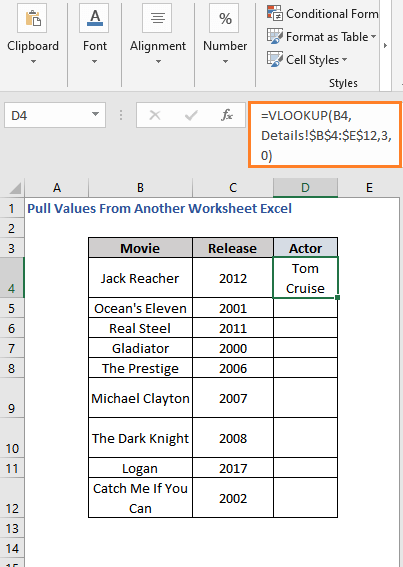VLOOKUP Formula result - Pull Values From Another Worksheet