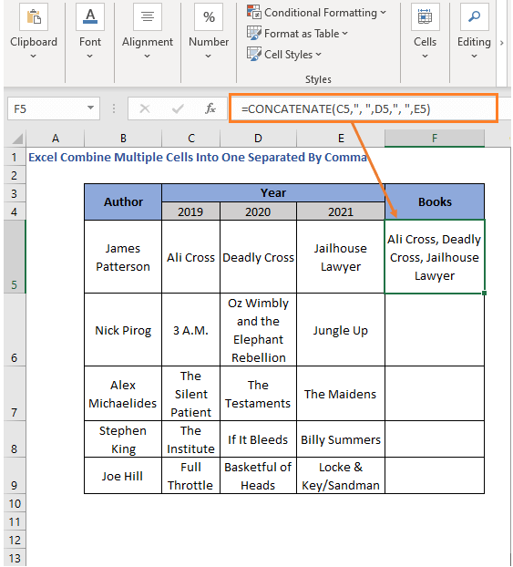 CONCATENATE function with comma - Excel Combine Multiple Cells Into One Separated By Comma
