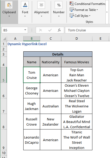 Destination cell from dynamic hyperlink