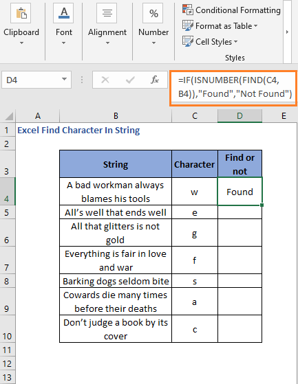 Result of IF-ISNUMBER with FIND function to generate readable result