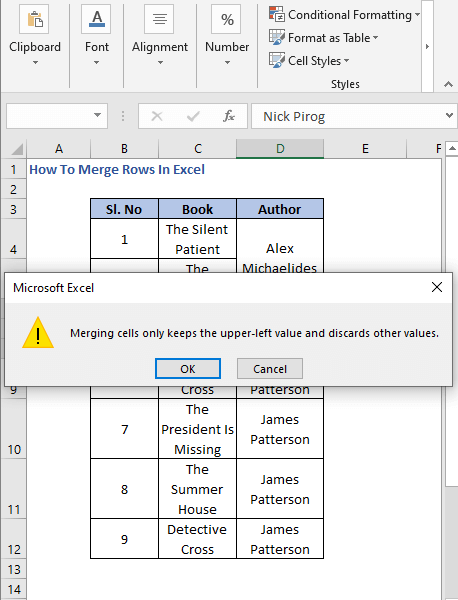 Warning 2 - How To Merge Rows In Excel
