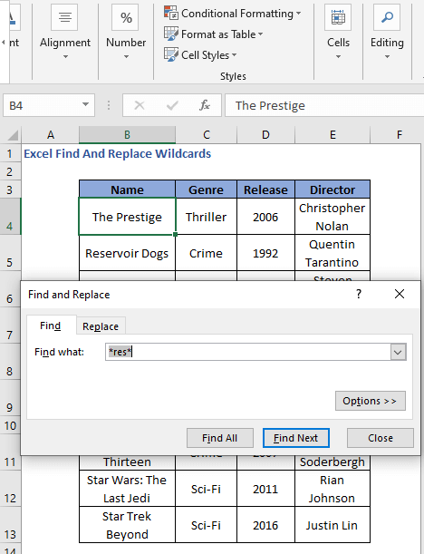 Asterisk as wildcard - Excel Find And Replace Wildcards