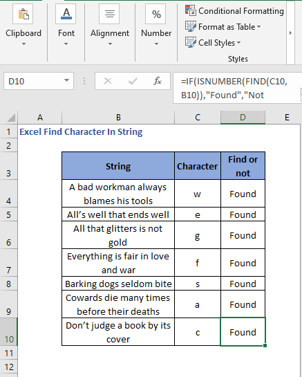 All the cell results - Excel Find Character In String
