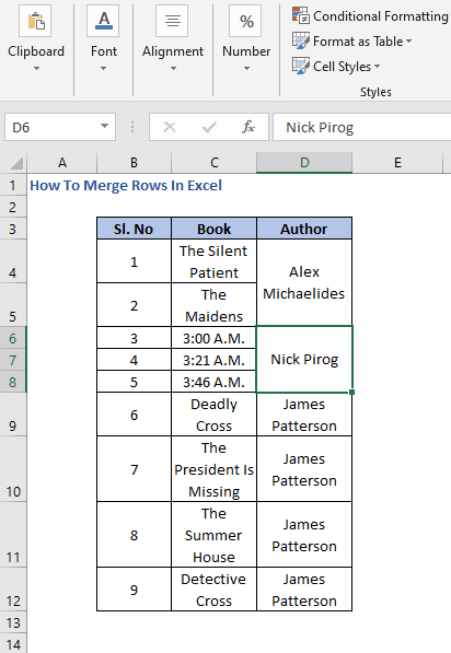 Merged Rows - How To Merge Rows In Excel
