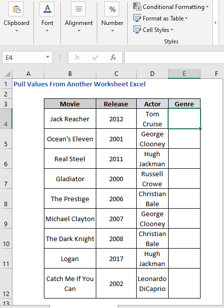 Pull Movie Genre from Details Sheet