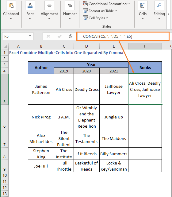 CONCATE Function with Comma - Excel Combine Multiple Cells Into One Separated By Comma