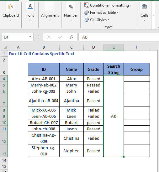 Search String set - Excel If Cell Contains Specific Text