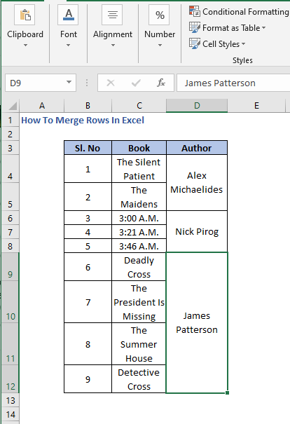Merged Cells - How To Merge Rows In Excel
