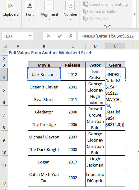 INDEX-MATCH Formula to Pull Values From Another Worksheet