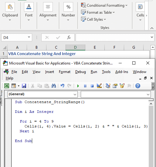 Concatenate a range of cells of strings with VBA -VBA Concatenate String And Integer