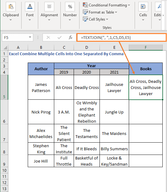 TEXTJOIN Function with comma delimiter - Excel Combine Multiple Cells Into One Separated By Comma