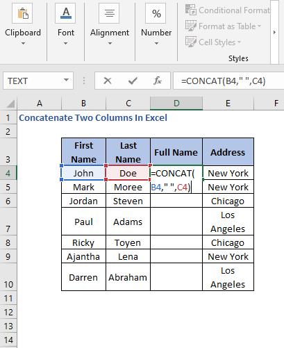 CONCATE Formula - Concatenate Two Columns In Excel