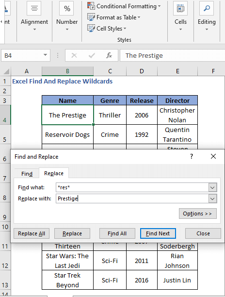 Replace a value using asterisk as wildcard