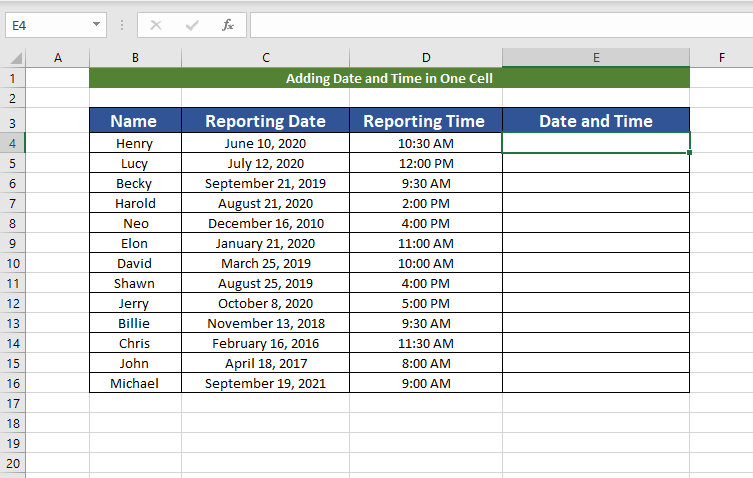 creating table for Adding date and time