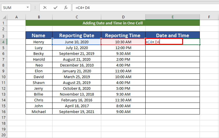 adding columns for date and time