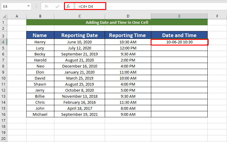 Result by adding date and time
