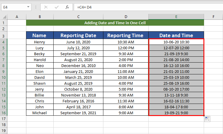 Result for adding date and time