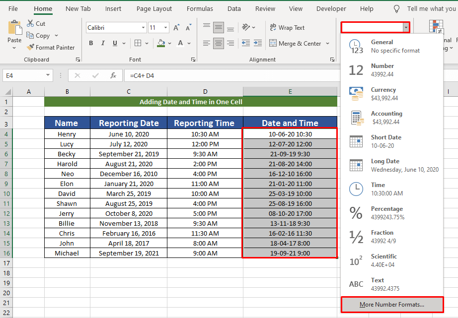 changing formats of date and time