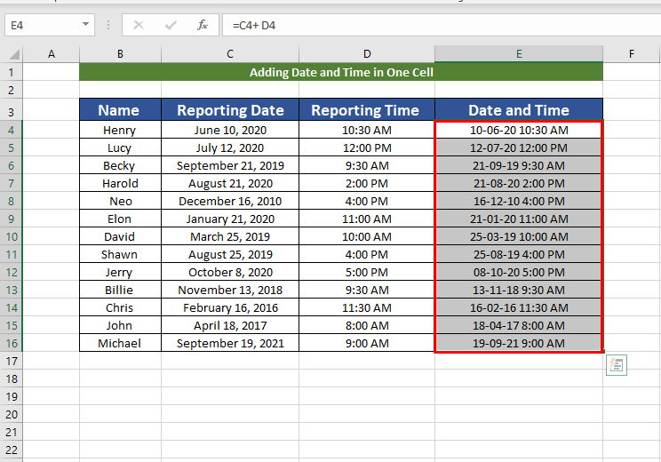 final result of adding date and time