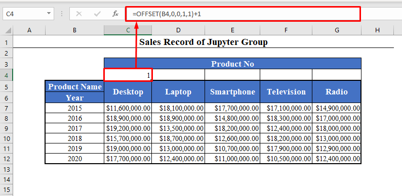 OFFSET Function to Number Columns in Excel Automatically