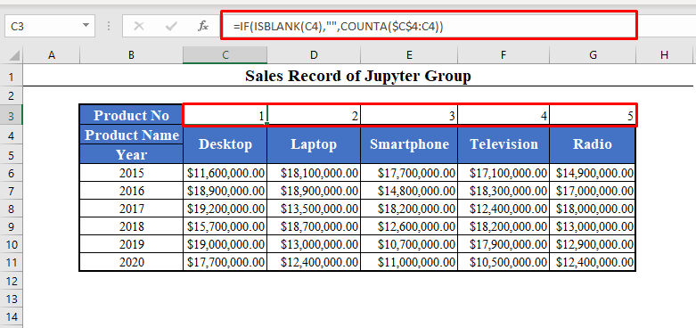 Automatically Number Columns in Excel Using IF, ISBLANK and COUNTA Functions