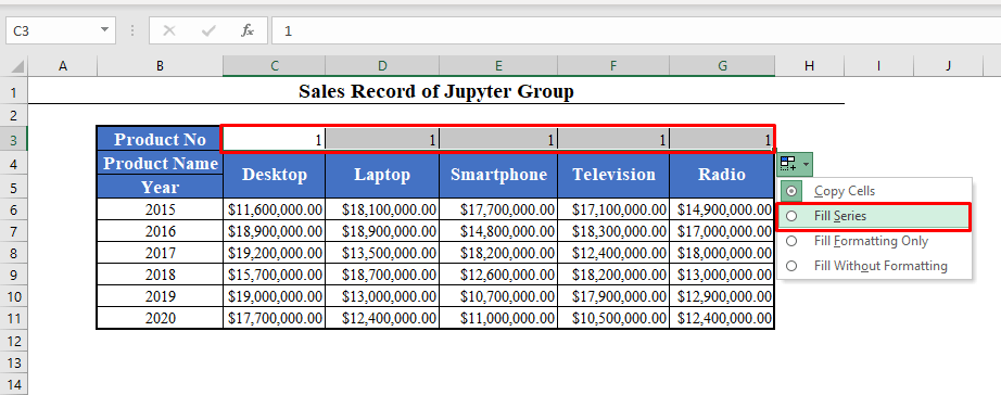 Selecting Fill Series from the Auto Fill Options in Excel