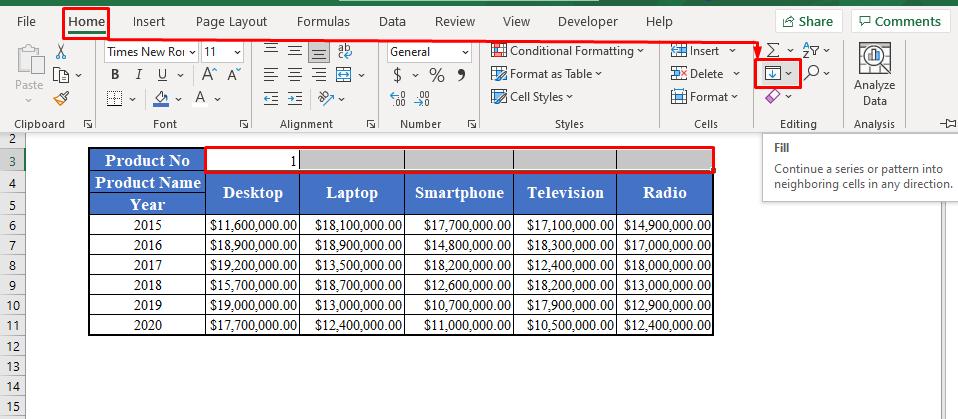 Fill Option in Excel Toolbar