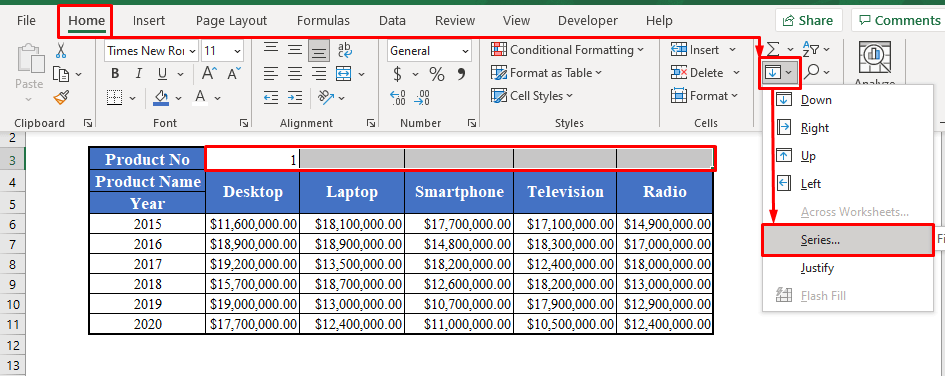 Drop-down Menus with the Fill Option