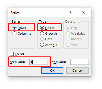 Series Dialogue Box in Excel
