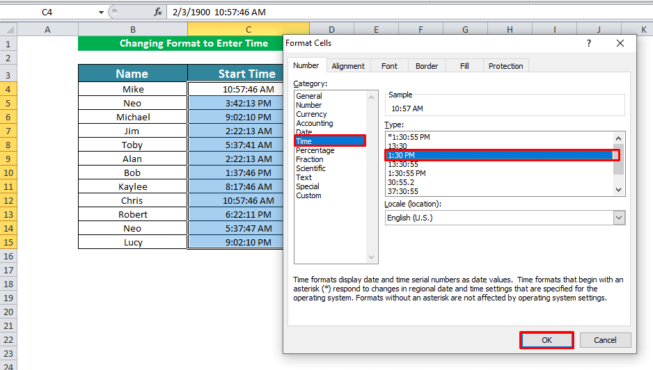 Changing Format to Enter Time in Excel