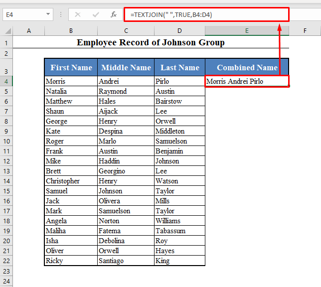 TEXTJOIN Function to Concatenate with Space in Excel