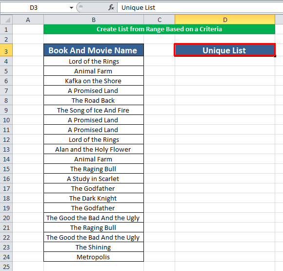 Create List from Range Based on a Criteria